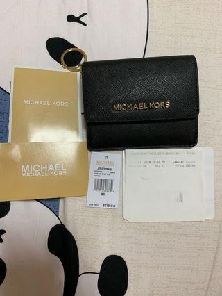 九成新Michael kors零錢包短夾防刮經典黑