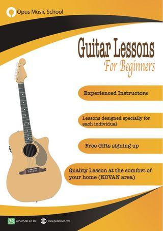 🚚 Guitar lessons at Your home at Kovan