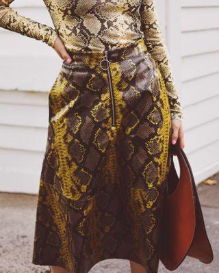 Snakeskin PU skirt