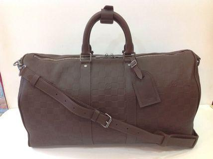 LV DAMIER INFINI LEATHER KEEPALL BANDOULIERE 45