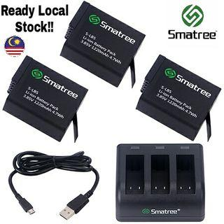 HERO 5/6/7 Smatree (3 Pack) Battery with 3-Channel Charger for GoPro