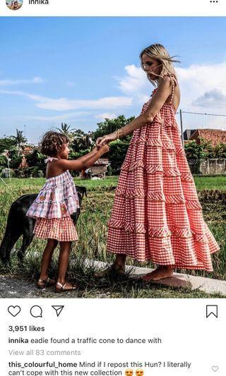 🚚 Innika choo maxi gingham dress in orange