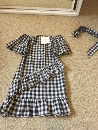 NEW gingham checkered ruffle off shoulder dress