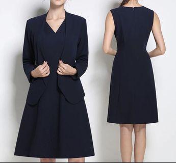 Navy Blue Dress with Jacket one set