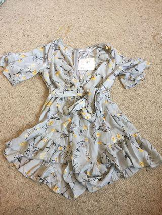 NEW Tiffany blue floral bell sleeve play suit