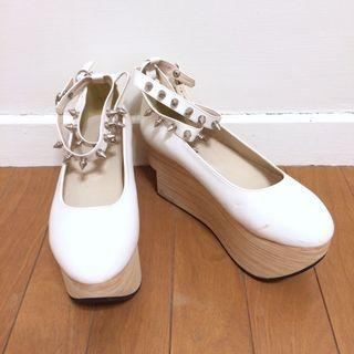 🌙蘿莉風白色鉚釘綁帶厚底高跟鞋高質感訂製款•Vintage