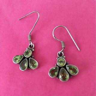 Peridot and silver dangly earrings. August birthstone.