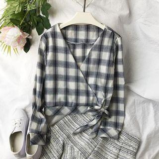 全新春夏 黑白格紋上衣 薄款防曬長袖 v領束腰綁帶