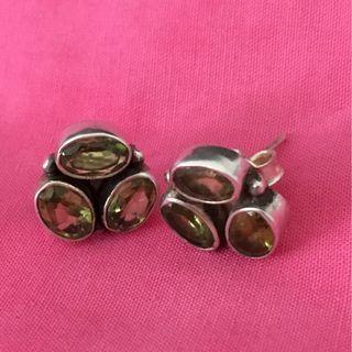 Peridot and silver earrings. August birthstone.