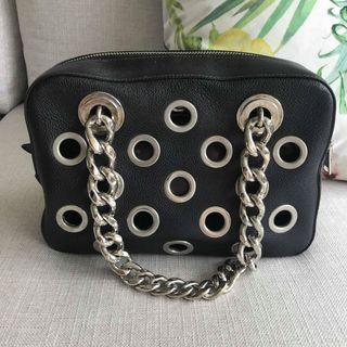 🚚 Prada Bauletto I Vit. Daino Nero Black with Large Silver Grommets Lambskin Leather Shoulder Bag