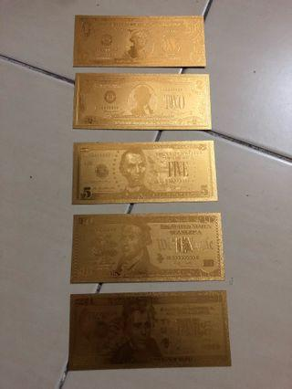 Gold Plated US Dollar Print