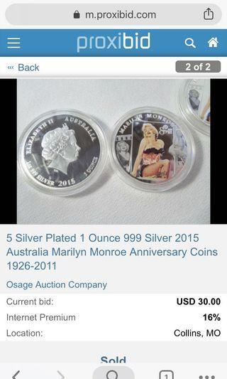 Silver Coin 999 Marilyn Monroe