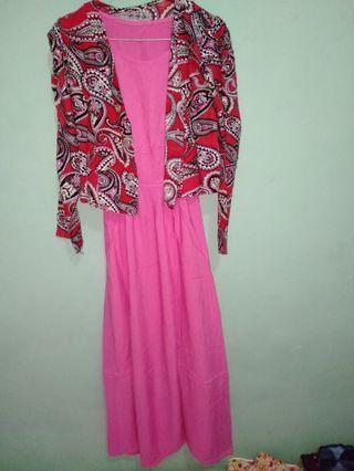 Long dress pink batik