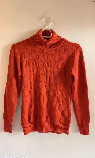 Rust turtle nexk knitted top