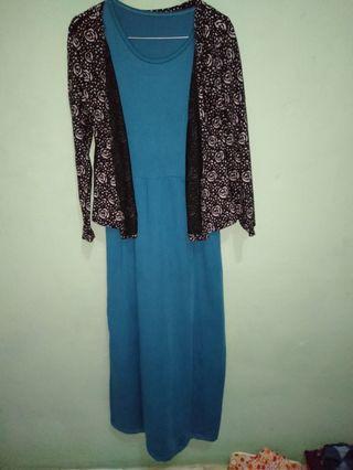 Long dress batik biru hijau zamrud