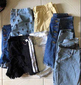Denim shorts and skirts