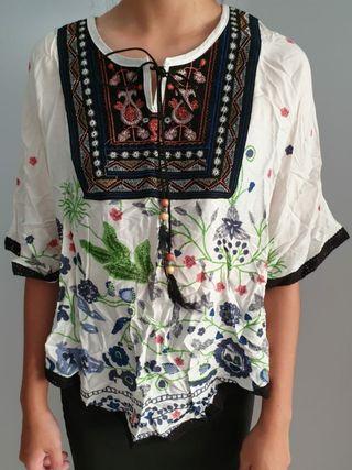 bn ulzzang floral blouse