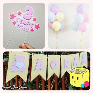 Bunting Banner Plus Helium Inflated Balloons Plus Cake Topper Bundle #PartyBundle #HappyBirthday #HeliumBalloon #Partydecorations #CakeTopper