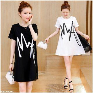 新款字母印花短袖洋裝