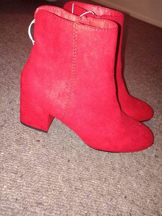Brand new Red boots, small heel