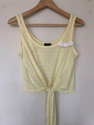 BARDOT yellow white bow top