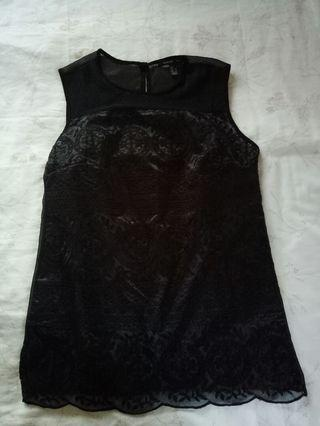 MANGO Black Lace Top