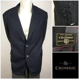 CROMBIE (100% Cashmere) Black Single Breasted Blazer Jacket