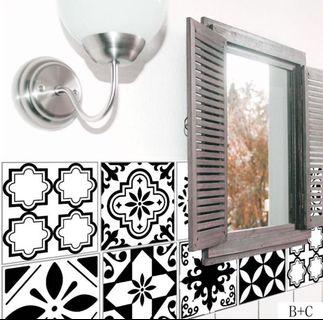 🚚 DIY black and white mosaic wall tile stickers