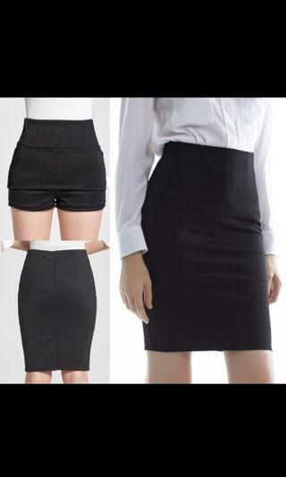 Black Pencil Skirt Stretchable Office Wear