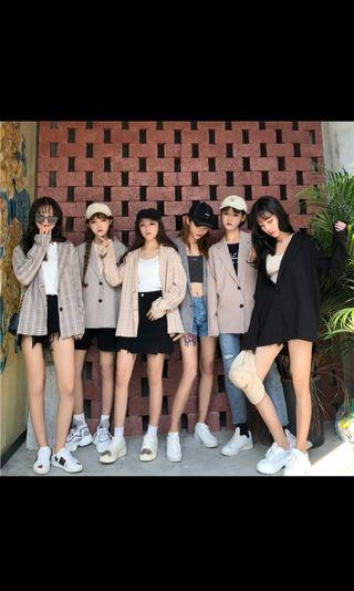 Korea Ulzzang Women Blazer Oversized Retro Look