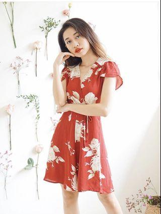 Bash Clothing Red Floral Wrap Dress