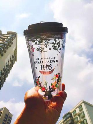 🚚 tanana吸管杯 雙層塑膠簡約水杯 隨行杯  冷飲杯  莊園麋鹿款