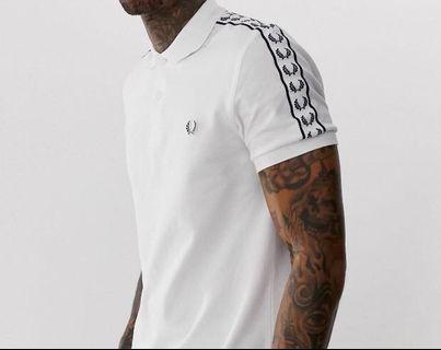 BNWT FRED PERRY TAPED POLO WHITE