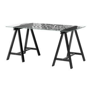 Ikea working desk (thumbprint glass top v oddvald leg)