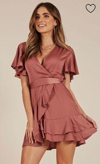 Rose Satin Semi Formal Dress
