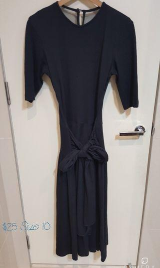 """""""Lisa Fo"""" Vintage Black See Through Back with Embroidery Drop Waist Long Sleeve Midi Dress (Size 10)"""