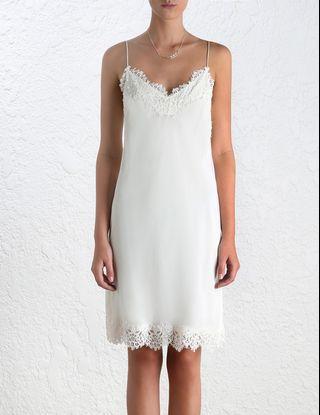 Zimmermann Silk Lace Trim Slip Dress in White - Size 1 BNWT RRP $395