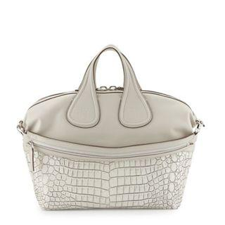 Givenchy Nightingale Medium Stamped Crocodile Satchel Bag, Off White