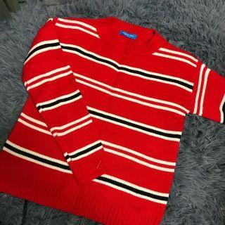 紅白條紋針織上衣