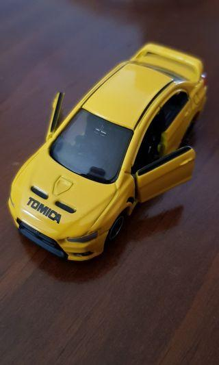 Displayed Tomica Mitsubishi Evo X