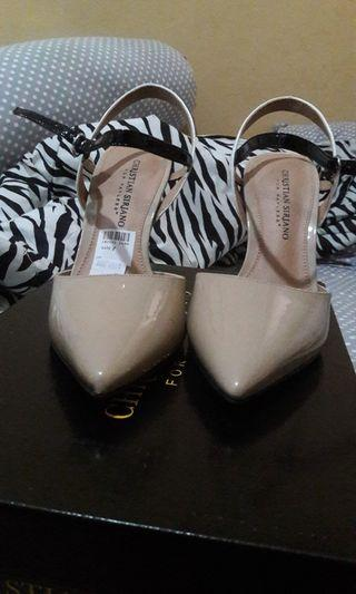 Christian Siriano Nude sling heels