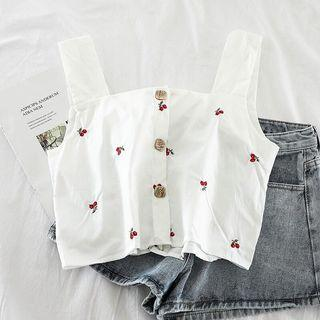 ulzzang cherry embroidered top