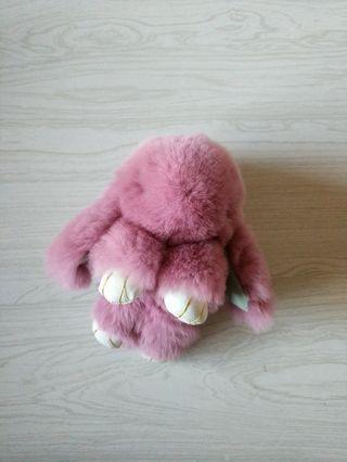 Rabbit fur keyring ash rose colour