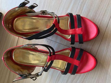 Gold red shoes