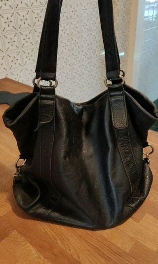 Soft, black, leather, shopping, sling, shoulder, bag, men