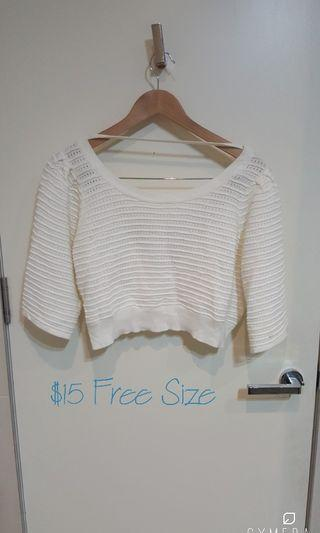 """Honey mi Honey"" Japanese Brand Ivory Open Neck 3/4 Sleeve Knit Top (Free Size)"