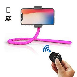 GekkoStick (Pink) Bluetooth Flexible Selfie Stick Tripod with Wireless Remote for iPhone/Android/Samsung Galaxy