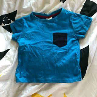 藍色短袖T恤 心口袋 衫仔 初生嬰兒BB 兒童 小童 童裝98碼 sw