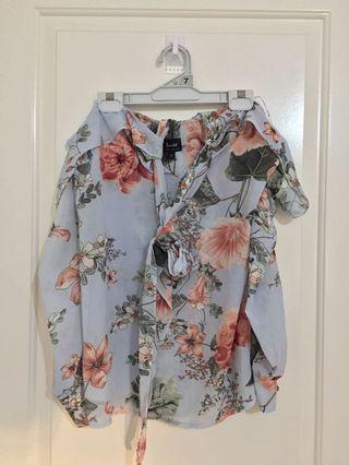 Bardot floral neck tie top 14