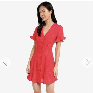 Zalora Button Front Fit and Flare Dress - Red